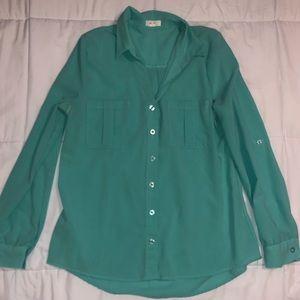 Teal Chiffon Long-sleeve Button Down
